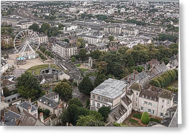 Plunging Greeting Cards - Aerial Chartres Greeting Card by Olivier Le Queinec