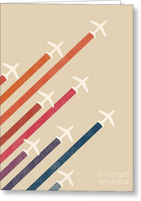 Aeroplane Greeting Cards - Aerial display Greeting Card by Budi Kwan