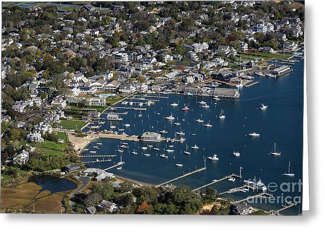 Charming Vistas Greeting Cards - Aerial Edgartown Greeting Card by John Greim