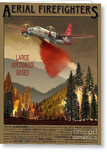 Military Aircraft Greeting Cards - Aerial Firefighters Large Airtanker Bases Greeting Card by Airtanker Art