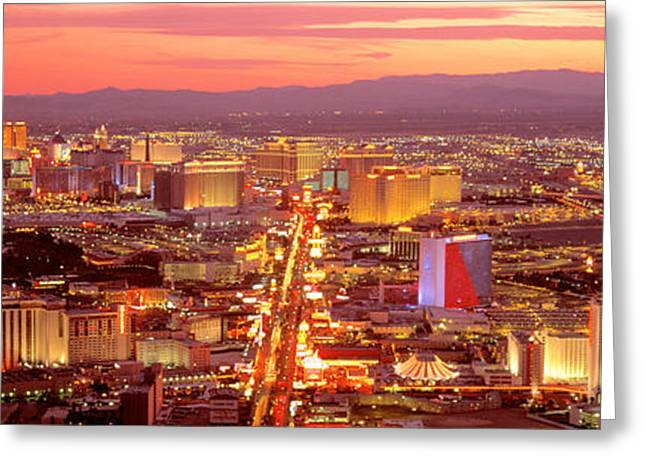 The Strip Greeting Cards - Aerial Las Vegas Nv Usa Greeting Card by Panoramic Images