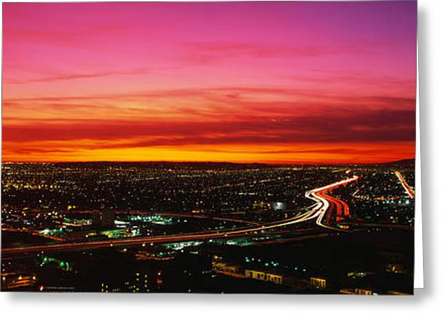 Los Angeles Freeways Greeting Cards - Aerial Los Angeles Ca Greeting Card by Panoramic Images