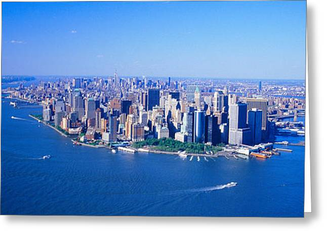 9-11 Greeting Cards - Aerial Lower Manhattan New York City Ny Greeting Card by Panoramic Images