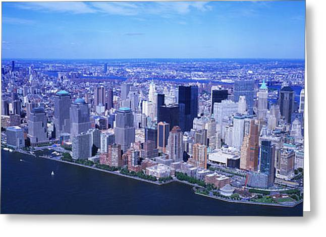 9-11 Greeting Cards - Aerial, Lower Manhattan, Nyc, New York Greeting Card by Panoramic Images