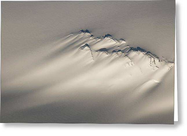 Snowy Evening Greeting Cards - Aerial Of A Windswept Nunatak On The Greeting Card by Carl Johnson