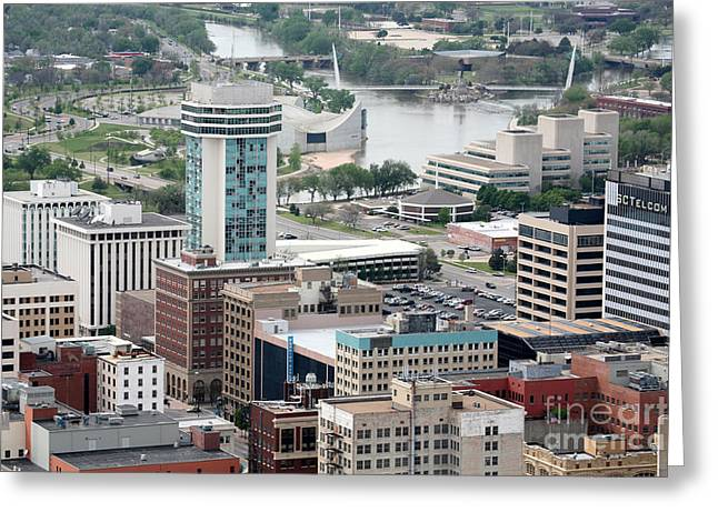 Wichita Skyline Greeting Cards - Aerial of Downtown Wichita Greeting Card by Bill Cobb