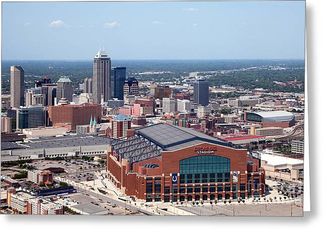 Indiana Scenes Greeting Cards - Aerial of Indianapolis Indiana Greeting Card by Bill Cobb