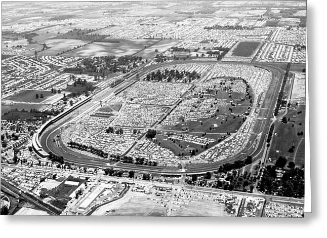 Aerial Of Indy 500 Greeting Card by Underwood Archives
