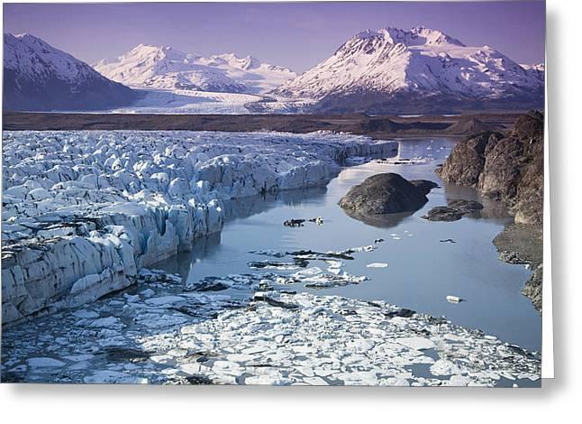 Matanuska Greeting Cards - Aerial Of Knik & Colony Glacier Greeting Card by Jeff Schultz