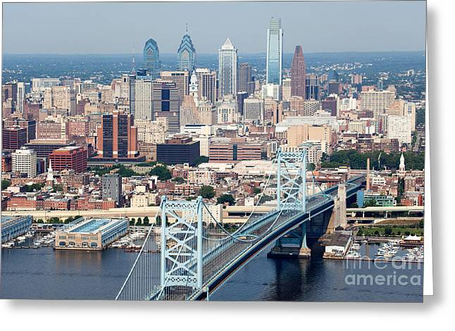 Recently Sold -  - Downtown Franklin Greeting Cards - Aerial of Philadelphia Pennsylvania Greeting Card by Bill Cobb