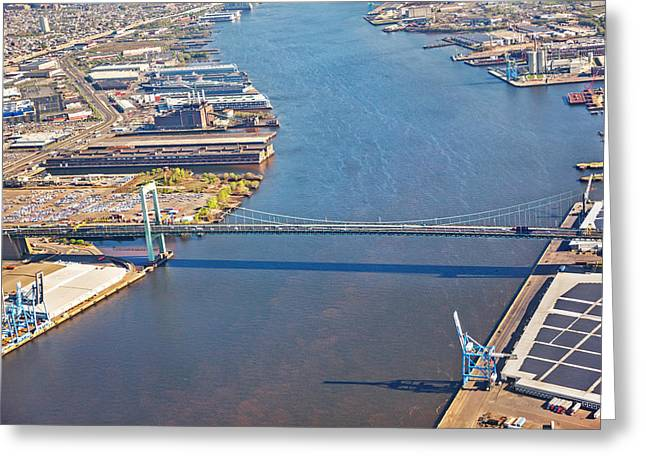 Downtown Franklin Greeting Cards - Aerial of the Ben Franklin Bridge Greeting Card by Jodi Jacobson