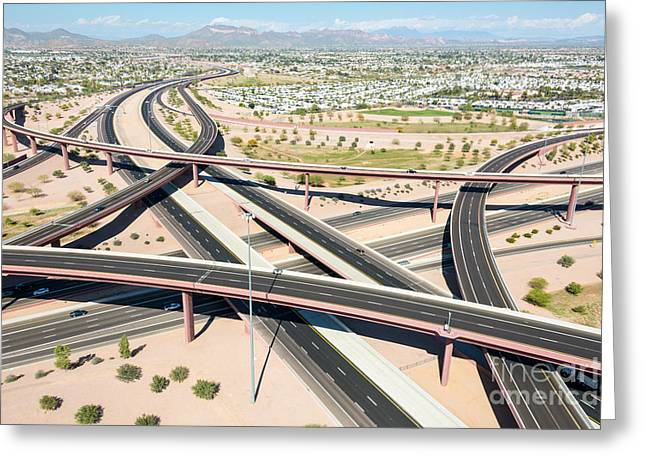 Red Rock Crossing Greeting Cards - Aerial Overpass Greeting Card by John Ferrante
