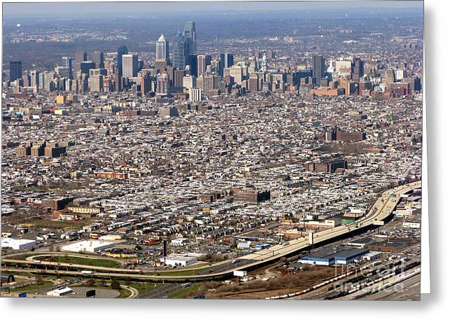 Aerial Philadelphia Greeting Card by Olivier Le Queinec