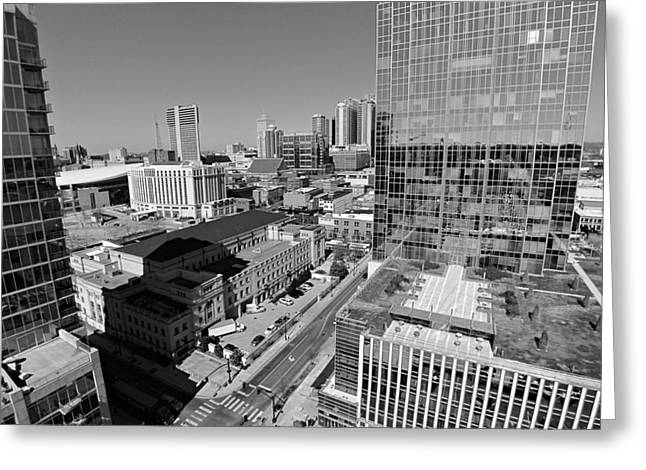 Nashville Downtown Greeting Cards - Aerial Photography Downtown Nashville Greeting Card by Dan Sproul