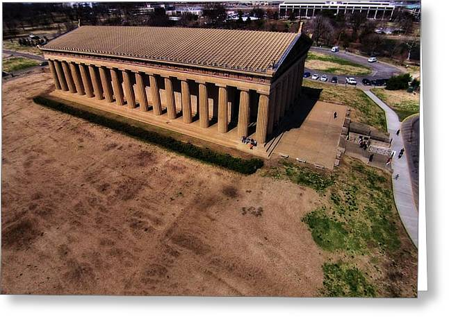 Architecture Of Nashville Greeting Cards - Aerial Photography Of The Parthenon Greeting Card by Dan Sproul