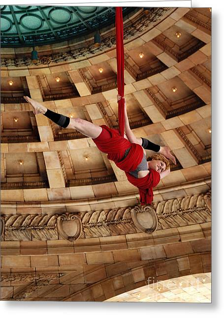 Ribbon Greeting Cards - Aerial Ribbon Performer at Pennsylvanian Grand Rotunda Greeting Card by Amy Cicconi