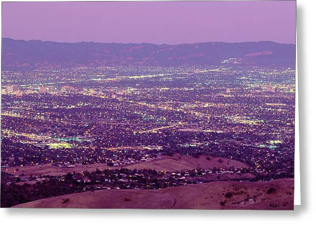 Brightly Lit Greeting Cards - Aerial Silicon Valley San Jose Greeting Card by Panoramic Images