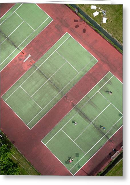 Aerial View Greeting Cards - Aerial Straight Down View of Tennis Courts Greeting Card by Rob Huntley