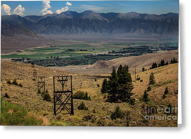 White Knob Mountains Greeting Cards - Aerial Tramway Towers Greeting Card by Robert Bales