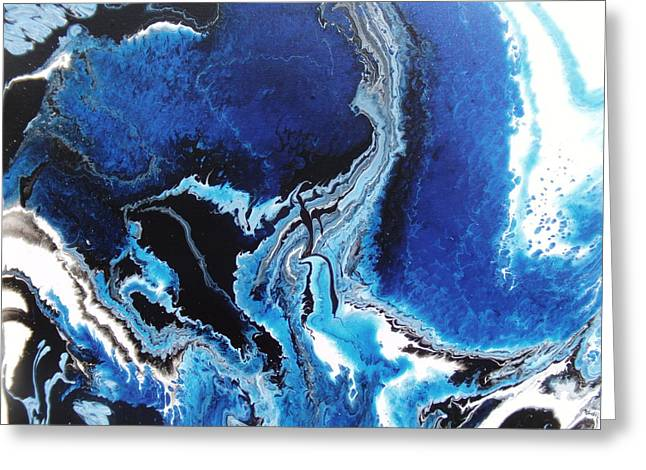 Acrylic Pour Greeting Cards - Aerial Veiw Blue Greeting Card by Mitchell Embry