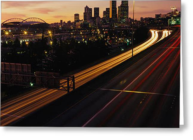 Headlight Greeting Cards - Aerial View At Dusk, Seattle Greeting Card by Panoramic Images