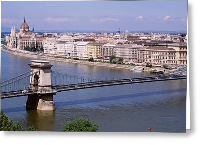 Aerial View, Bridge, Cityscape, Danube Greeting Card by Panoramic Images