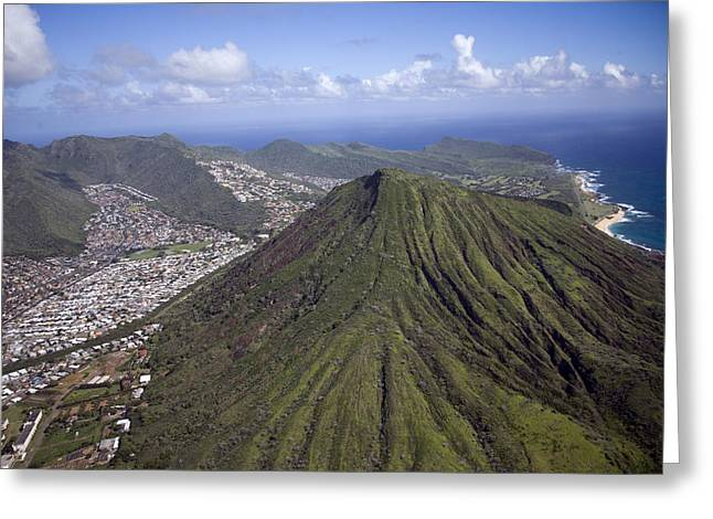 Highsmith Greeting Cards - Aerial View Honolulu Hawaii Greeting Card by Carol Highsmith