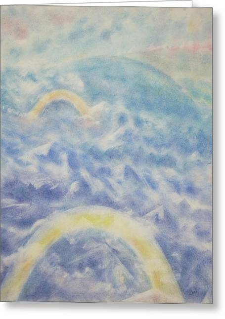 Mystical Landscape Pastels Greeting Cards - Aerial View Greeting Card by Joel Rudin