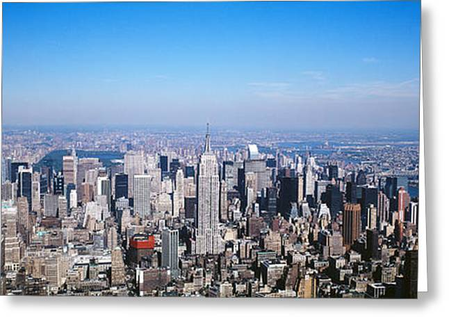 New York Vista Greeting Cards - Aerial View, New York City, Nyc, New Greeting Card by Panoramic Images