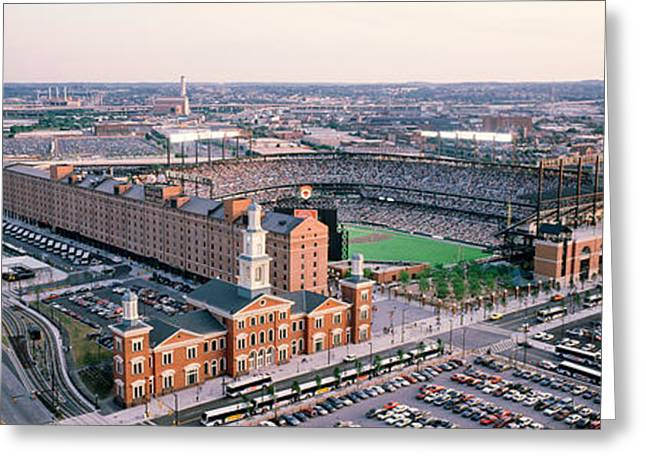 Baltimore Oriole Greeting Cards - Aerial View Of A Baseball Field Greeting Card by Panoramic Images