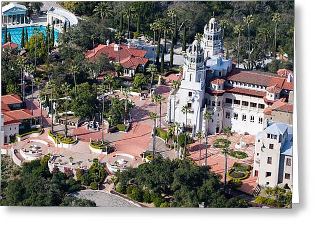 San Luis Obispo Greeting Cards - Aerial View Of A Castle On A Hill Greeting Card by Panoramic Images