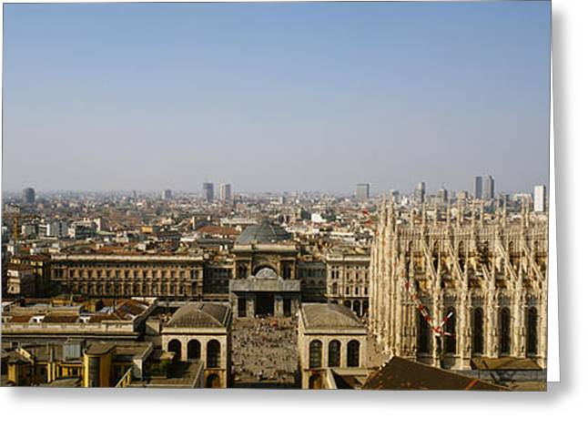 Milano Greeting Cards - Aerial View Of A Cathedral In A City Greeting Card by Panoramic Images