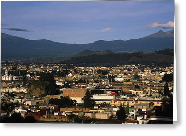 Puebla Greeting Cards - Aerial View Of A City A With Mountain Greeting Card by Panoramic Images