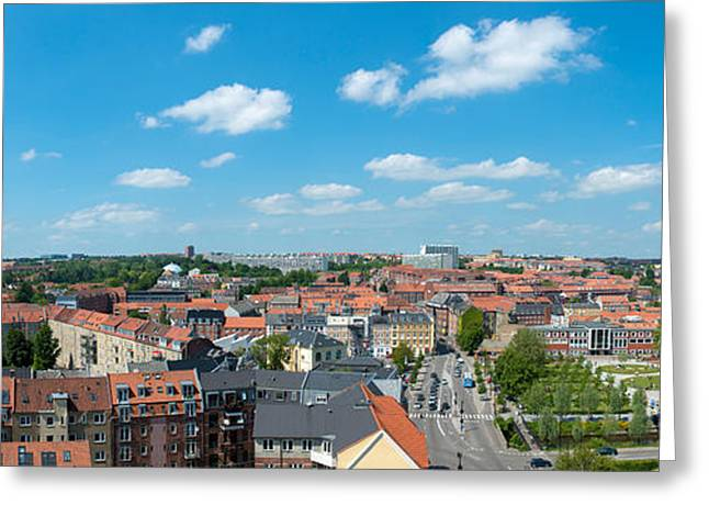 Aarhus Greeting Cards - Aerial View Of A City, Aarhus, Denmark Greeting Card by Panoramic Images