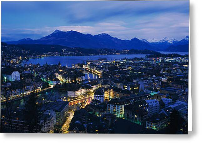 Residential District Greeting Cards - Aerial View Of A City At Dusk, Lucerne Greeting Card by Panoramic Images