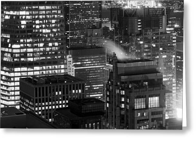 Midtown Greeting Cards - Aerial View Of A City At Night, Midtown Greeting Card by Panoramic Images