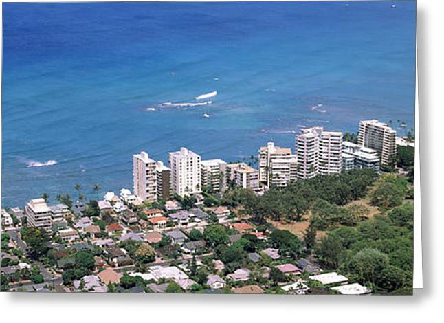 Condominium Greeting Cards - Aerial View Of A City At Waterfront Greeting Card by Panoramic Images