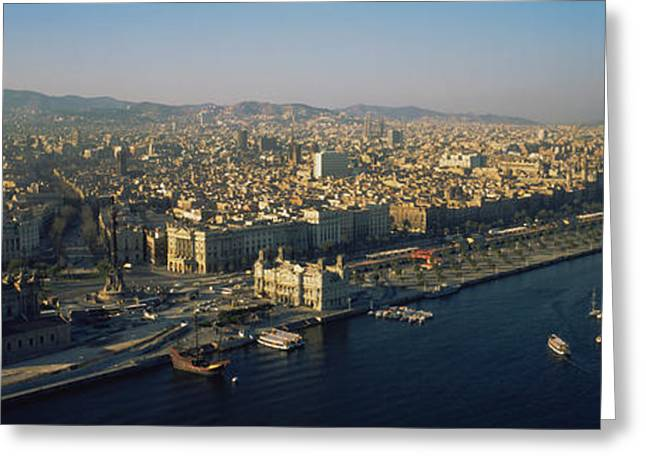 Sailboat Images Greeting Cards - Aerial View Of A City, Barcelona, Spain Greeting Card by Panoramic Images