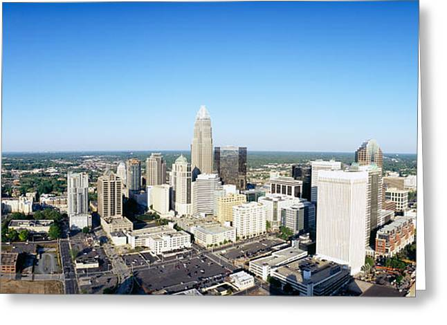 Downtown Charlotte Greeting Cards - Aerial View Of A City, Charlotte Greeting Card by Panoramic Images