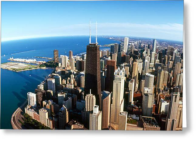 Wide Horizons Greeting Cards - Aerial View Of A City, Chicago, Cook Greeting Card by Panoramic Images
