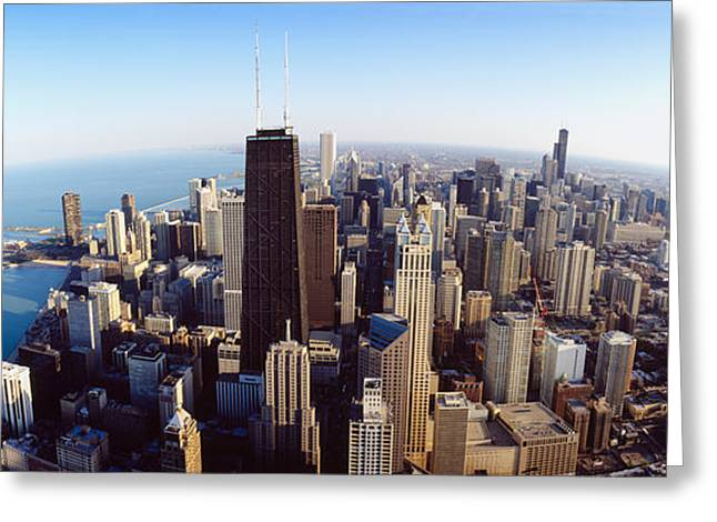Wide Horizons Greeting Cards - Aerial View Of A City, Chicago Greeting Card by Panoramic Images