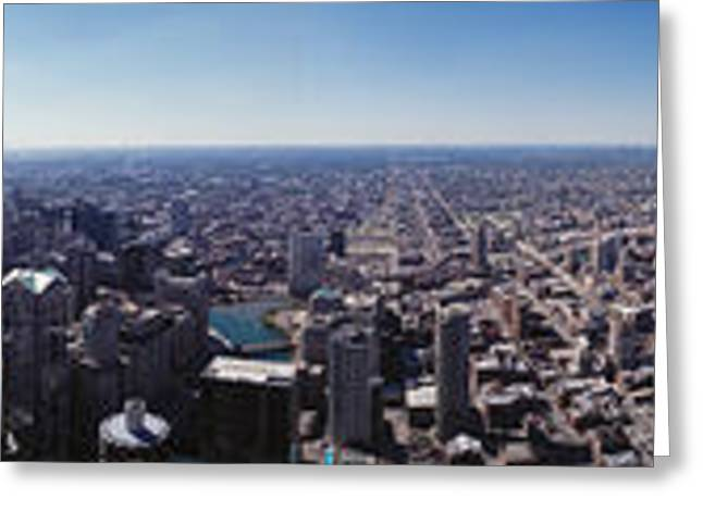 360 Greeting Cards - Aerial View Of A City, Chicago River Greeting Card by Panoramic Images