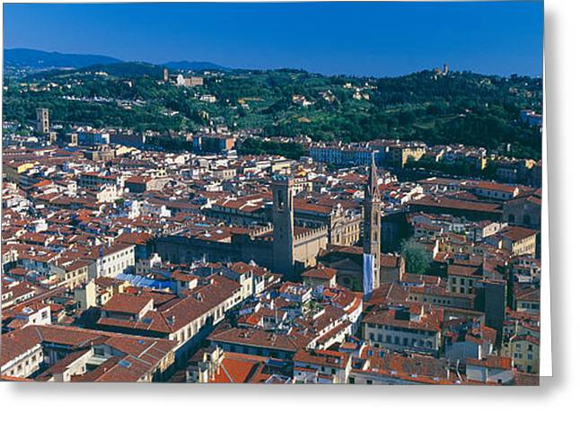 Florence Greeting Cards - Aerial View Of A City, Florence Greeting Card by Panoramic Images