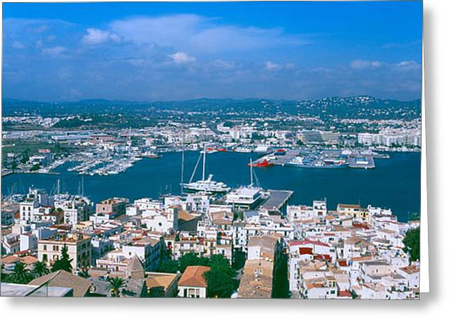 Ibiza Greeting Cards - Aerial View Of A City, Ibiza, Balearic Greeting Card by Panoramic Images