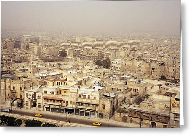 Sandstorm Greeting Cards - Aerial View Of A City In A Sandstorm Greeting Card by Panoramic Images