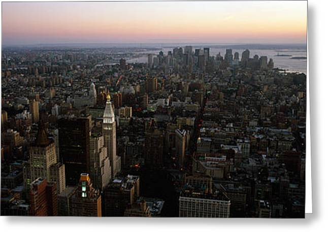Lower Manhattan Greeting Cards - Aerial View Of A City, Lower Manhattan Greeting Card by Panoramic Images