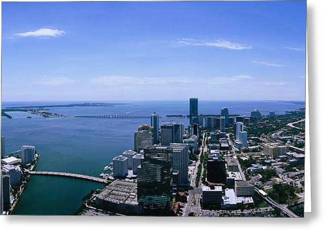 Florida Bridge Greeting Cards - Aerial View Of A City, Miami, Florida Greeting Card by Panoramic Images