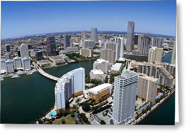 Florida Photography Greeting Cards - Aerial View Of A City, Miami Greeting Card by Panoramic Images