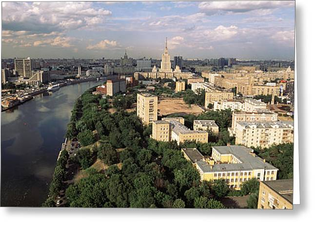 Commonwealth Of Independent States Greeting Cards - Aerial View Of A City, Moscow, Russia Greeting Card by Panoramic Images