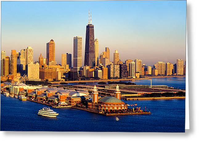 Amusements Greeting Cards - Aerial View Of A City, Navy Pier, Lake Greeting Card by Panoramic Images